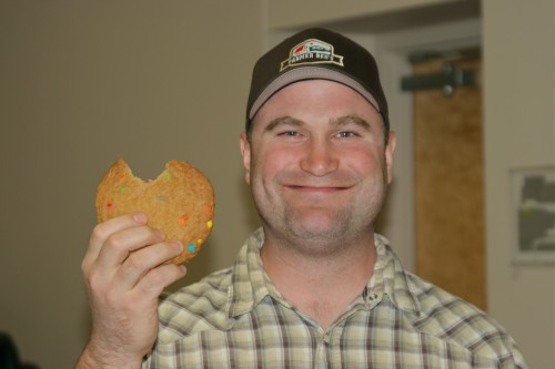 Farmer Ben enjoys Avenue Bread monster cookie at North Cascade Meats Information Session in Bellingham WA