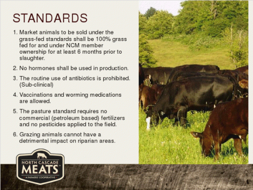 Beef Growing Standards for North Cascade Meats Brand